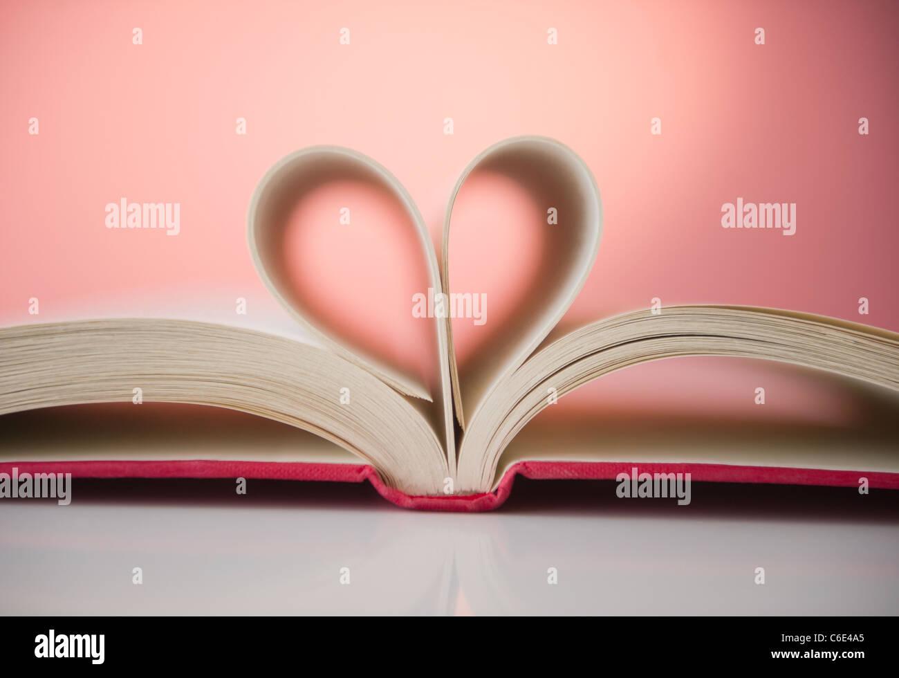 Close up di sentire forma resa delle pagine del libro aperto Immagini Stock