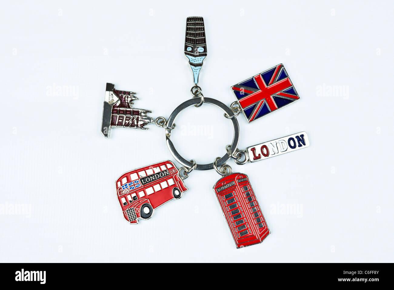 London souvenir chiave anello della catena Immagini Stock