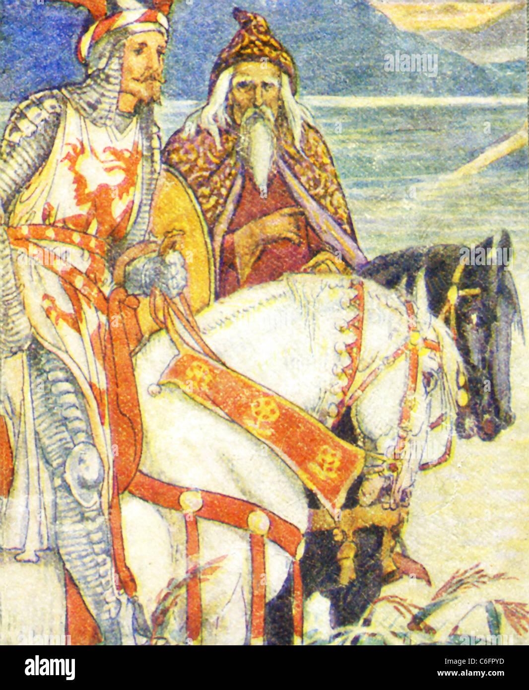 Nella leggenda arturiana, un vasto corpo di storia medievale che centri su Re Artù di Bretagna, Merlin fu il Immagini Stock