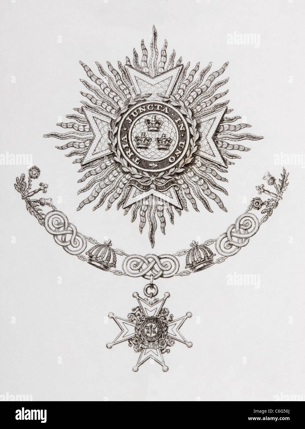 Star, il collare e il distintivo di un militare di Cavaliere di Gran Croce dell'ordine del bagno. Immagini Stock