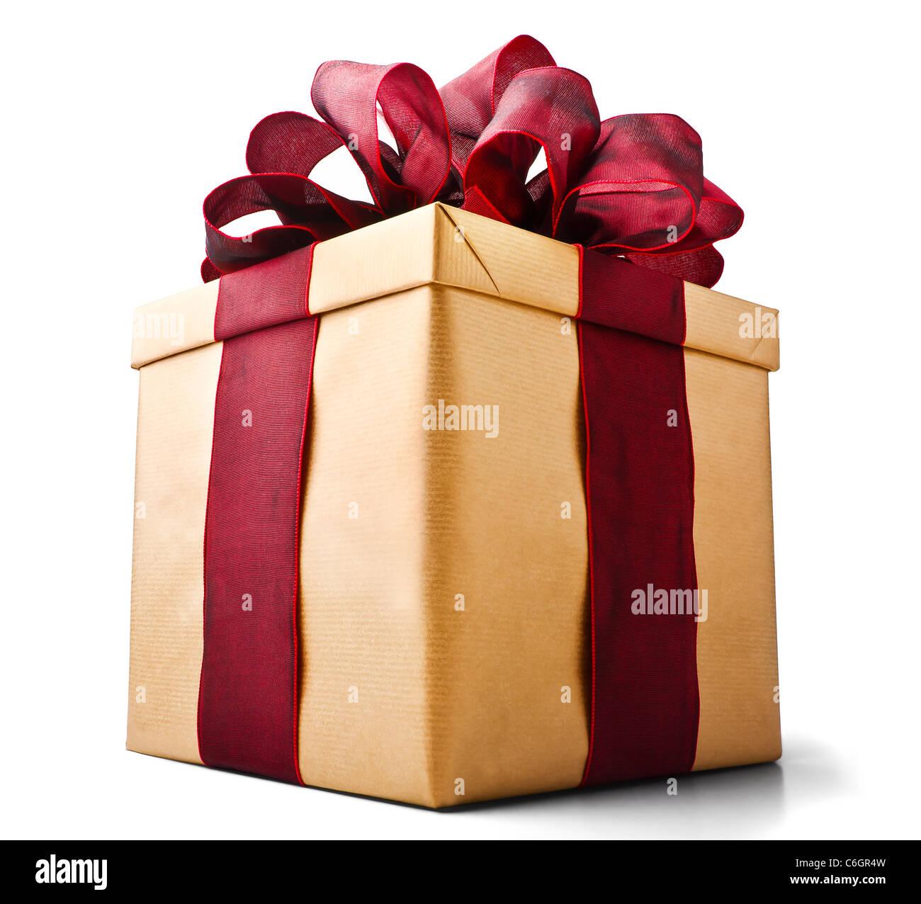 Bella presente scatola con schiacciante bow isolato su bianco visto da sotto Immagini Stock