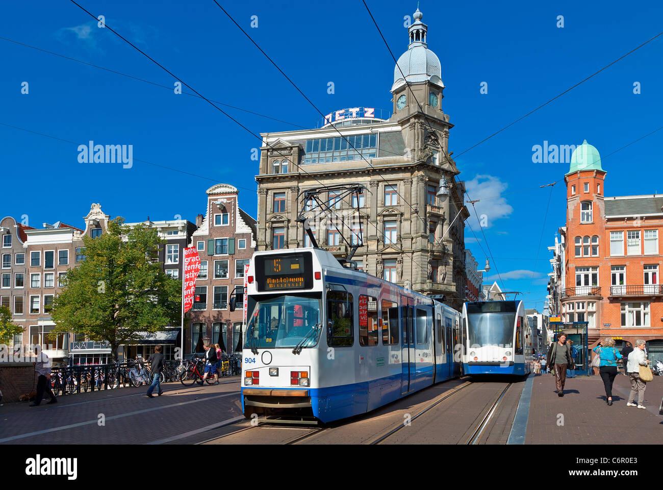 Europa, Paesi Bassi, tram in Amsterdam Immagini Stock