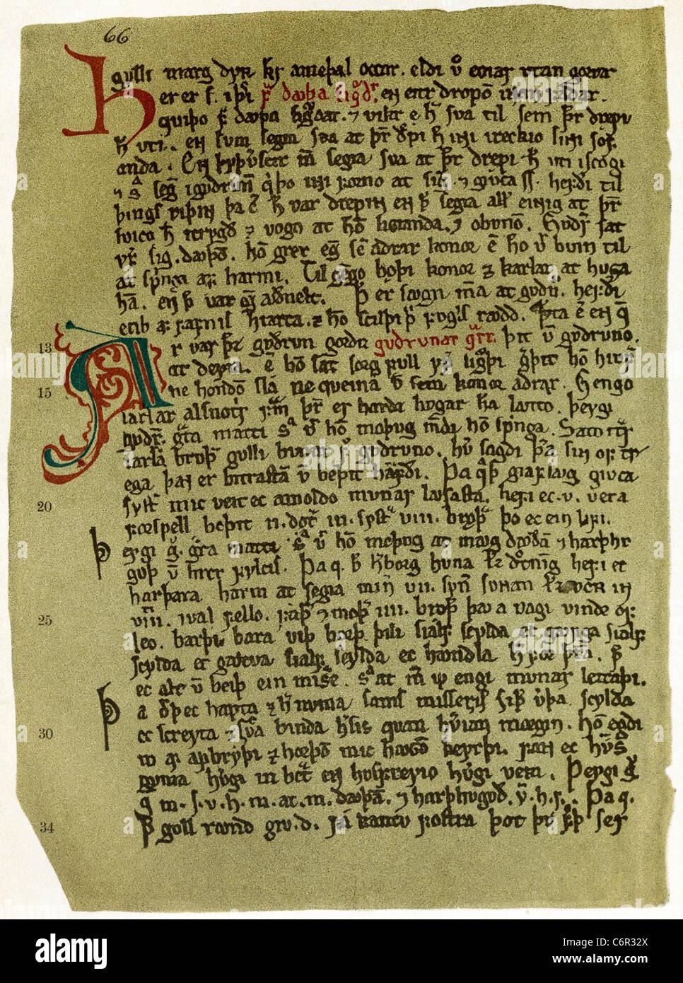 Questo facsimile 1910 mostra il più antico manoscritto superstite il testo di una pagina di una poetica Eddas. Immagini Stock