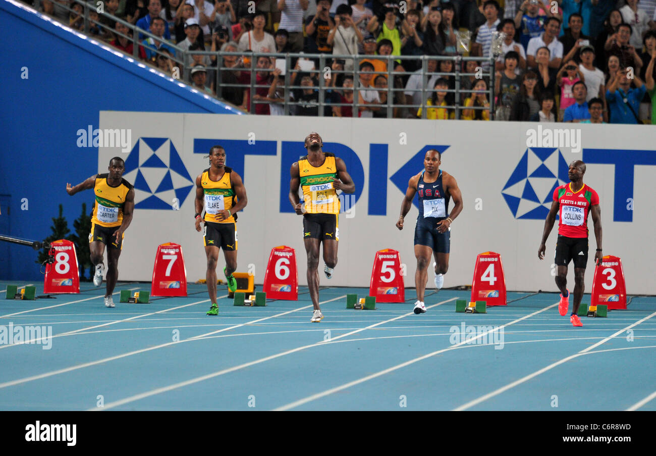 Usain Bolt (JAM) eseguire per il XIII IAAF Campionati del Mondo di atletica leggera. Immagini Stock