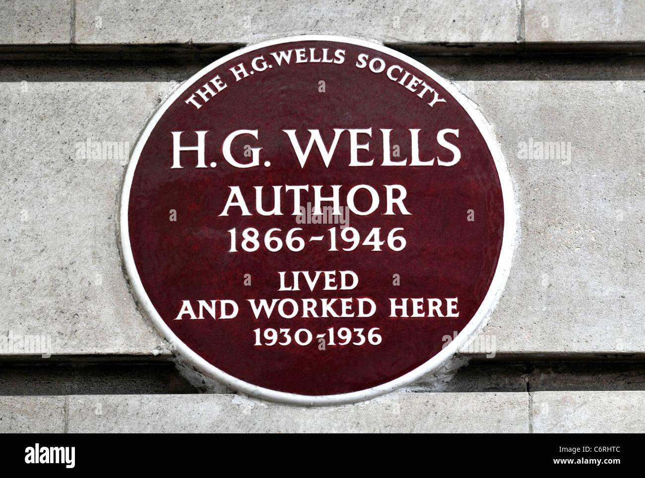 Lapide segna il luogo in cui l'autore H G Wells ha vissuto e lavorato in Baker Street, Londra, Gran Bretagna, Regno Foto Stock