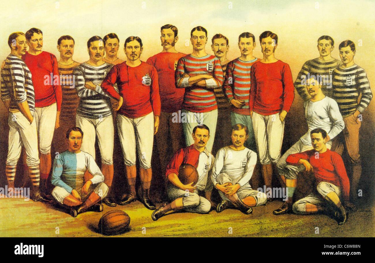 Calciatori inglese del 1881 come mostrato nei ragazzi proprio giornale Immagini Stock