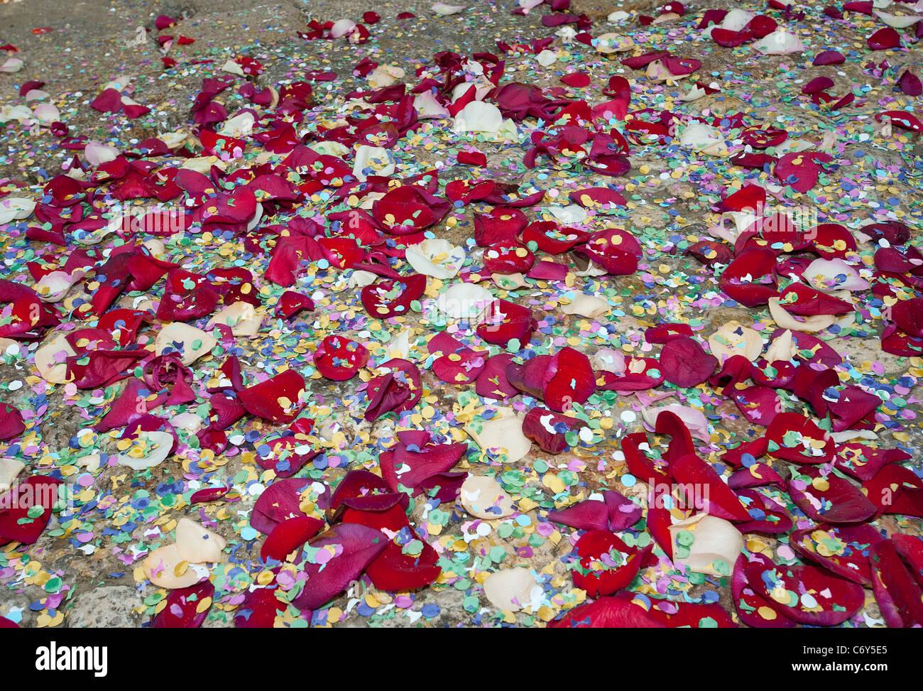 I confetti di nozze su gradini Immagini Stock