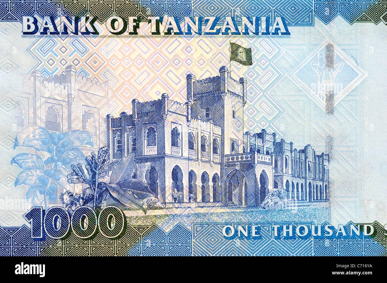 Tanzania 1000 Mille scellino nota banca. Immagini Stock
