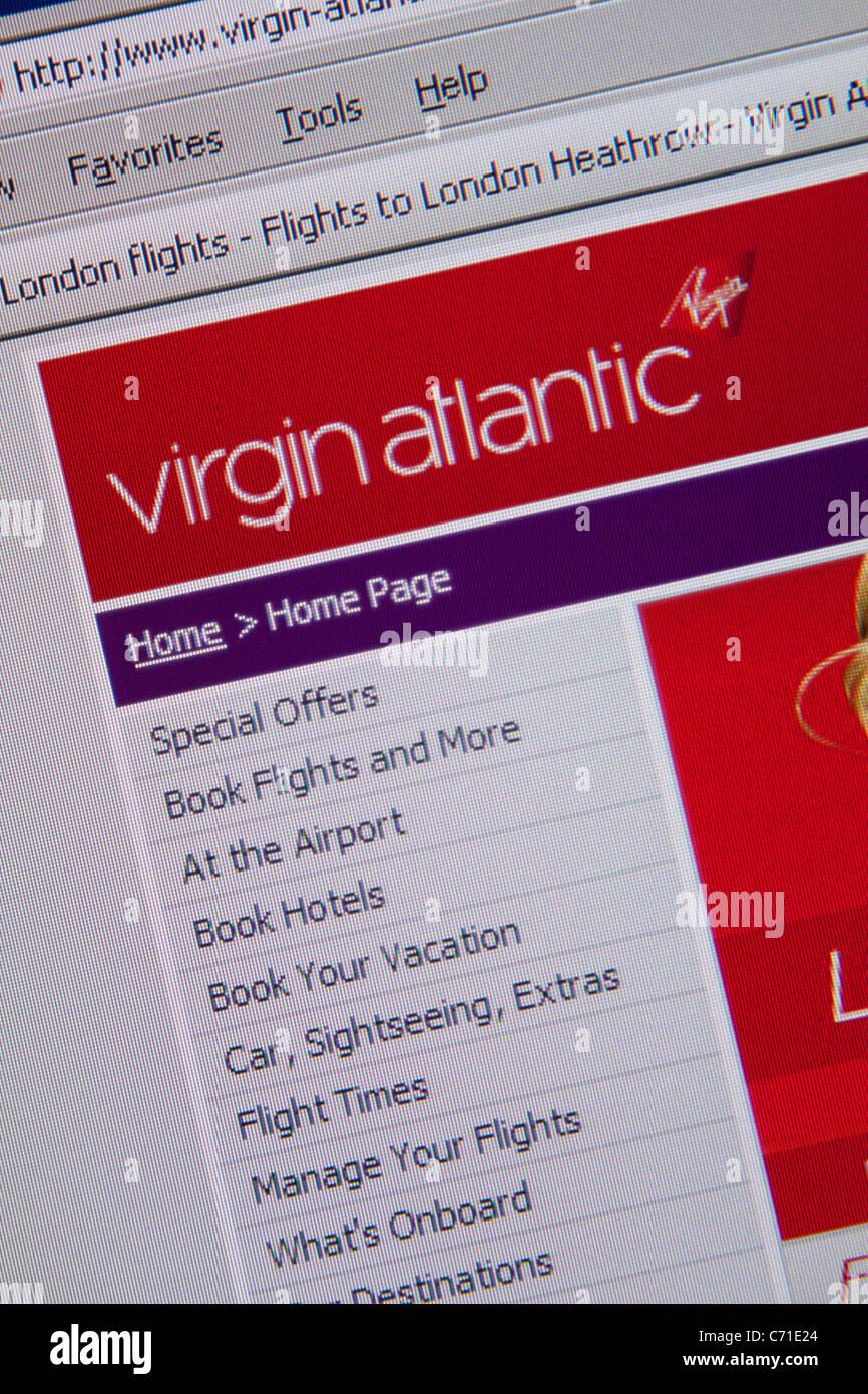 Virgin Atlantic online viaggi di volo Immagini Stock