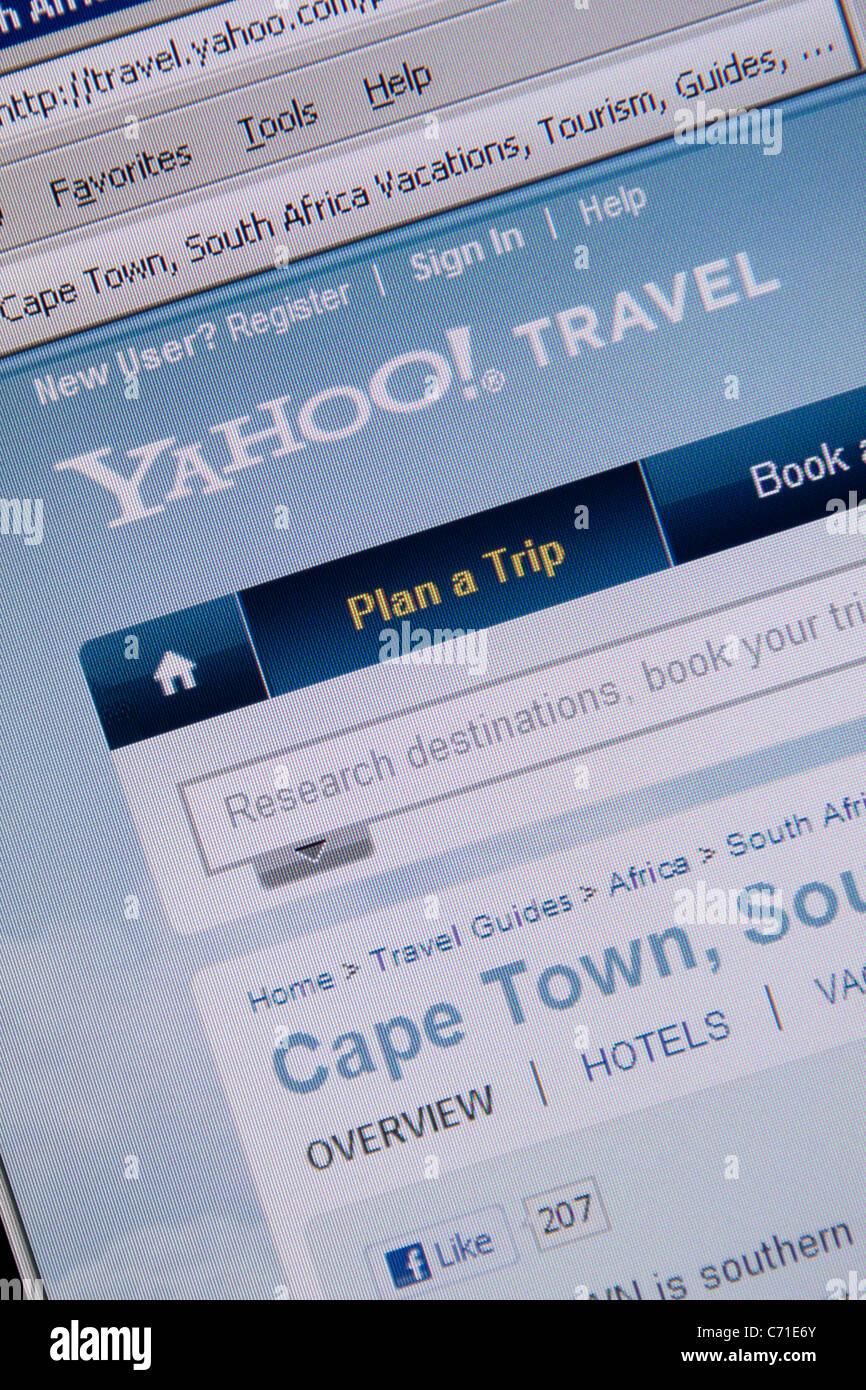 Yahoo viaggi sito web online Immagini Stock