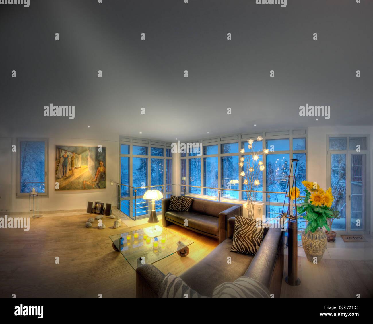 Architettura: vivere contemporaneo impostazione di camera (Germania/Bad Toelz) Immagini Stock