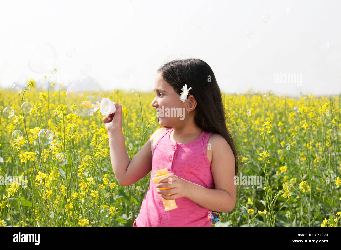 Ragazza giovane rendendo le bolle in un campo Immagini Stock