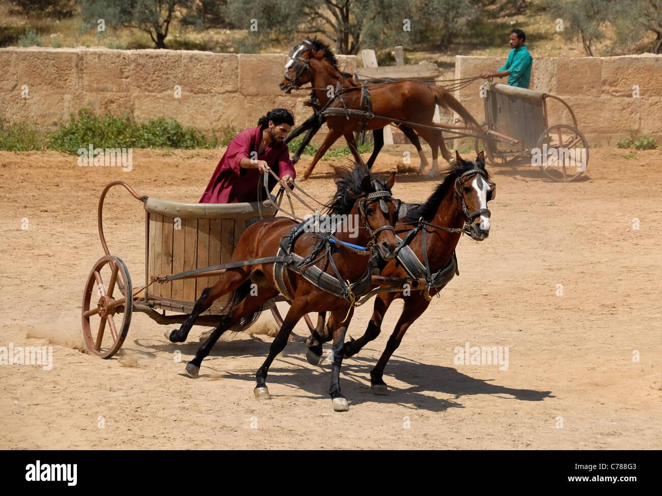 Gara delle bighe nel circus in rovine romane di Jerash in Giordania. Immagini Stock