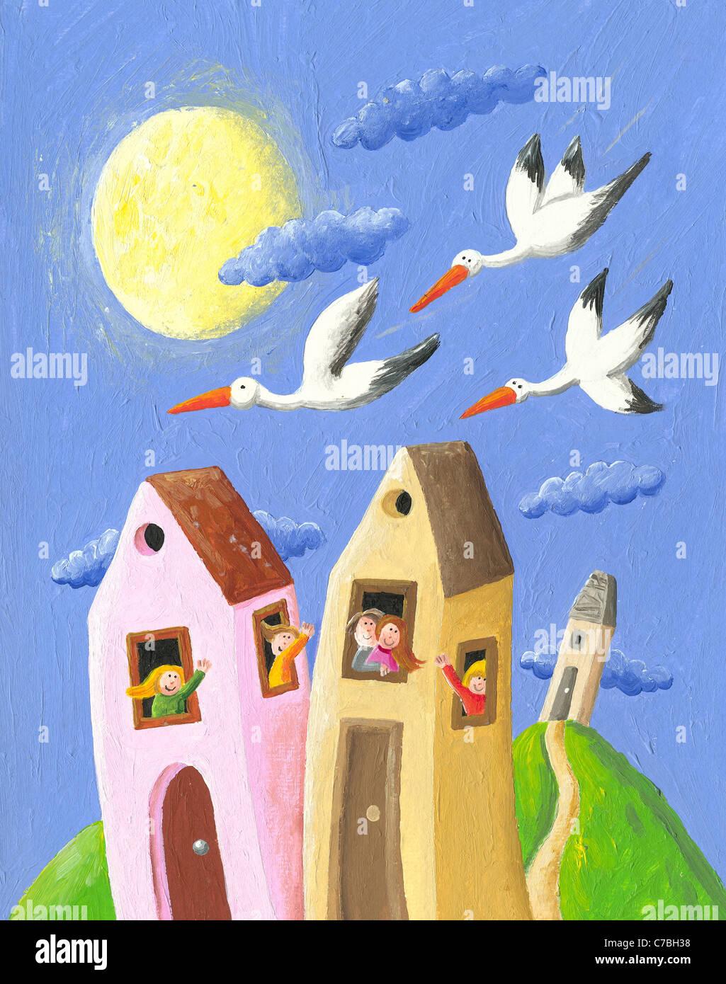 Illustrazione in acrilico di felice la gente nel villaggio sventolando cicogne Immagini Stock