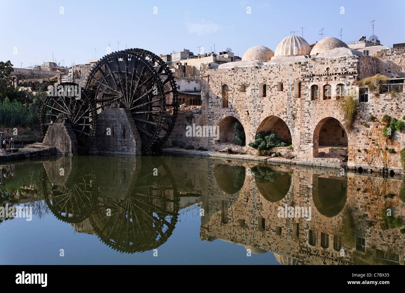 Ruote di acqua in corrispondenza di Hama, Siria Immagini Stock