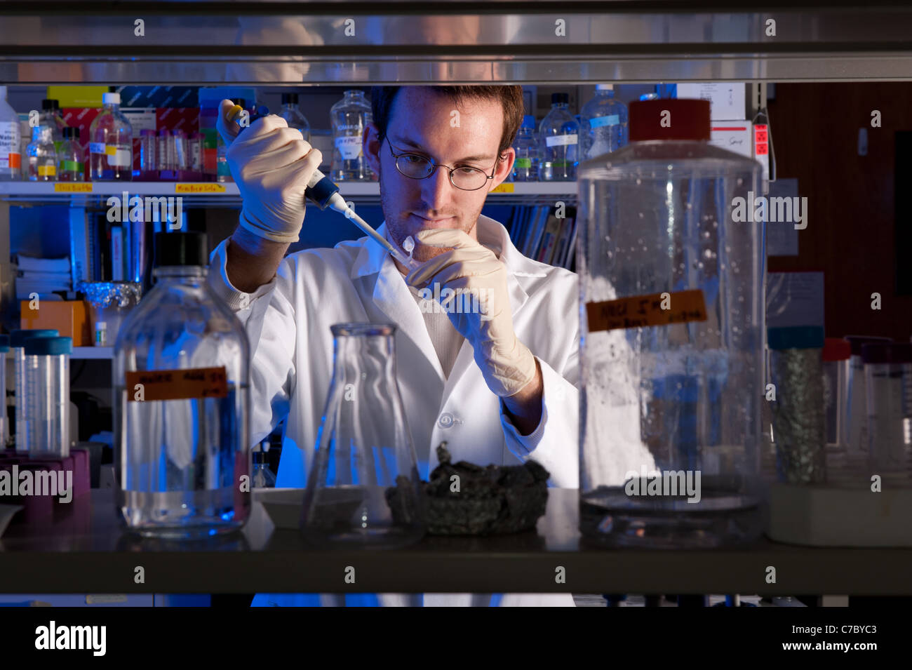Scienziato conducendo esperimenti in laboratorio Immagini Stock