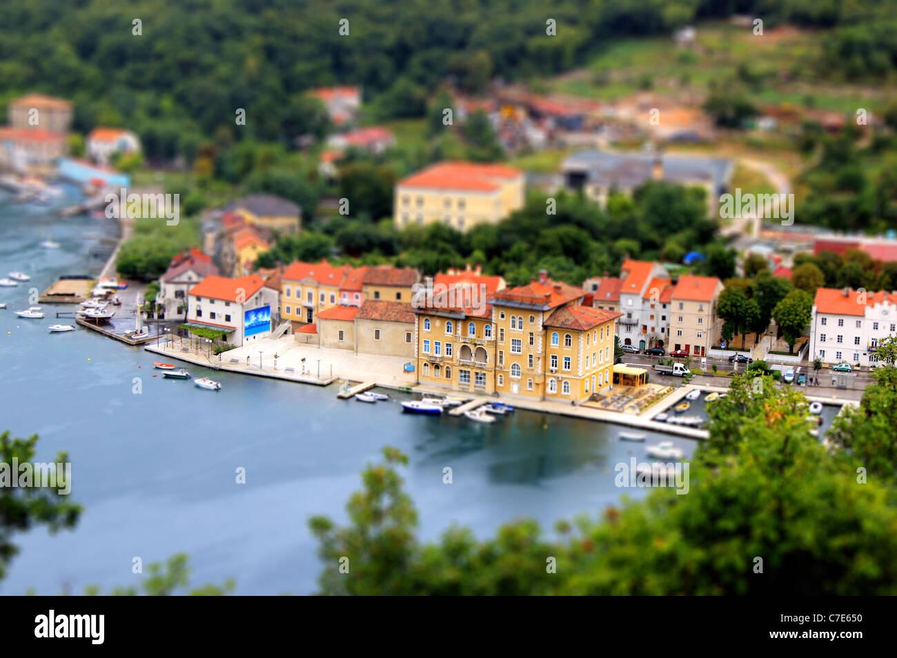 Città di Bakar miniatura, inclinare maiuscolo - Quarnero, Croazia Immagini Stock