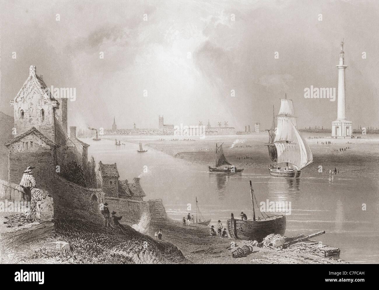 Great Yarmouth, Norfolk, Inghilterra e la Britannia monumento, all'inizio del XIX secolo. Immagini Stock