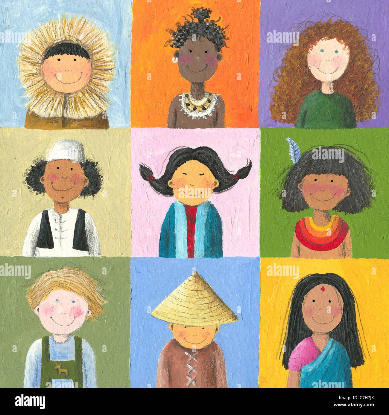 Illustrazione in acrilico di felici i bambini di tutto il mondo Immagini Stock