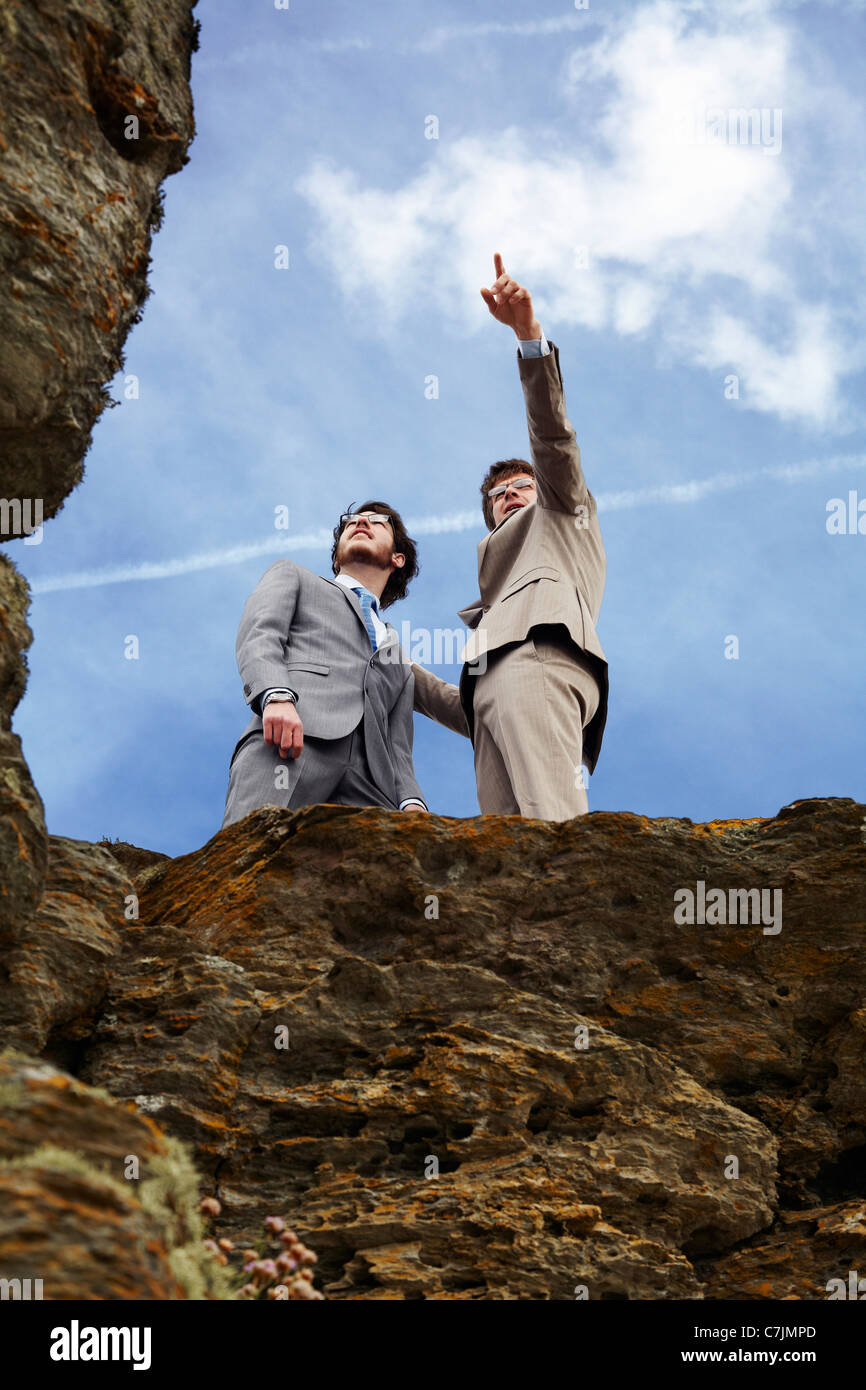 Uomini d'affari in piedi sul bordo scogliera Immagini Stock