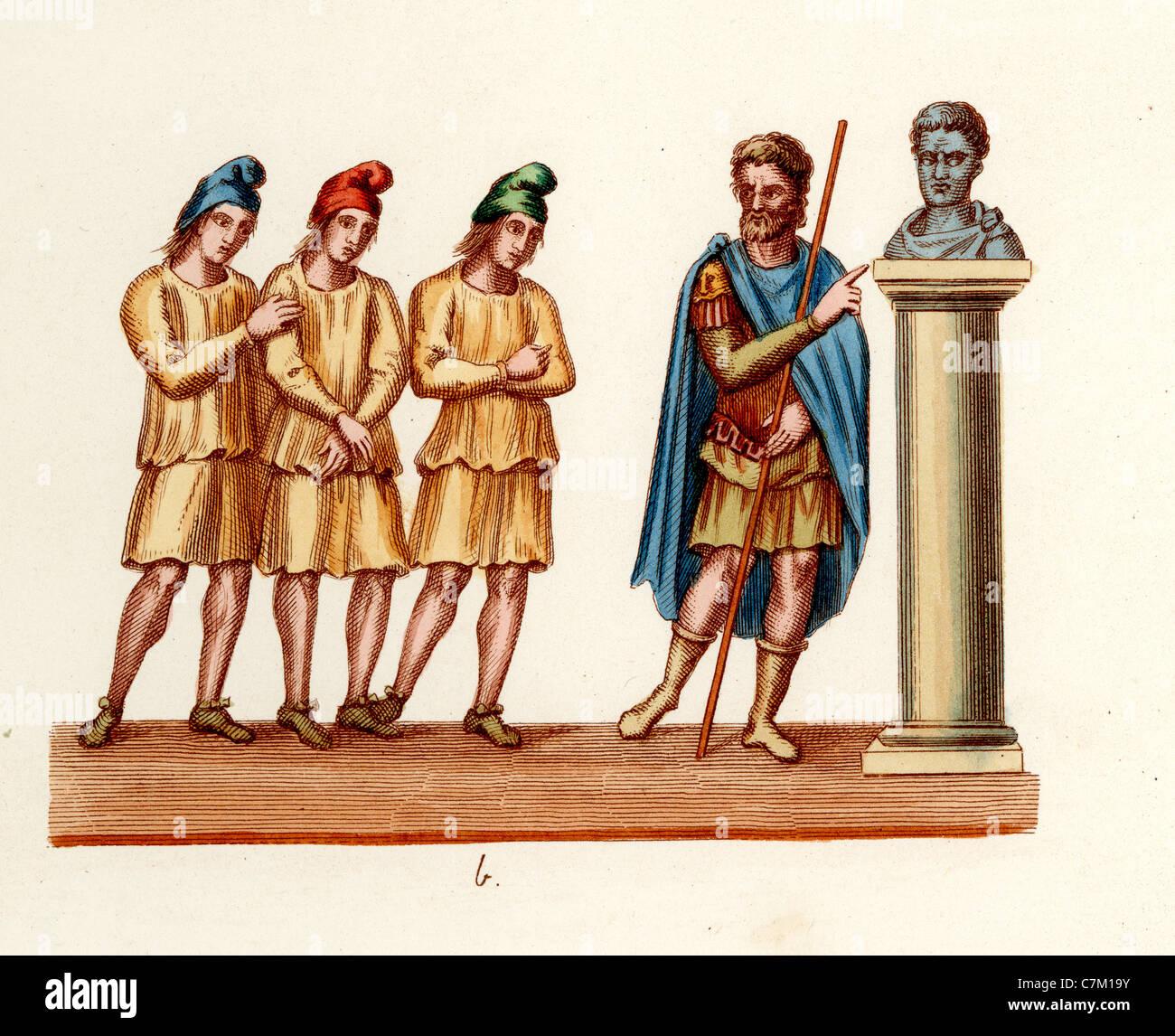 Tre ebrei in ordine al culto di una statua del re Foto Stock