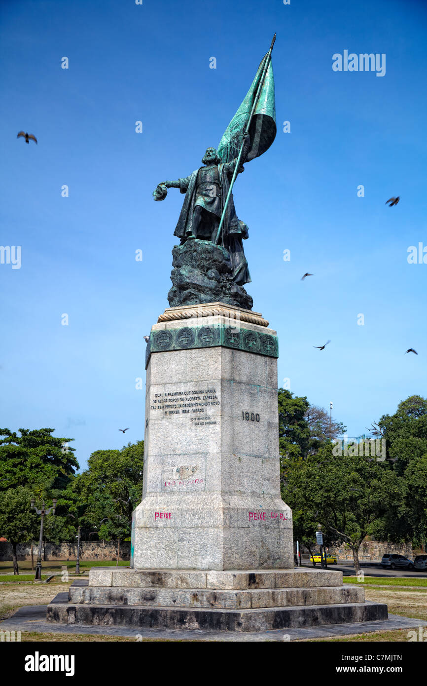 Monumento a Pedro Alvares Cabral panorama, Rio de Janeiro, Brasile Immagini Stock