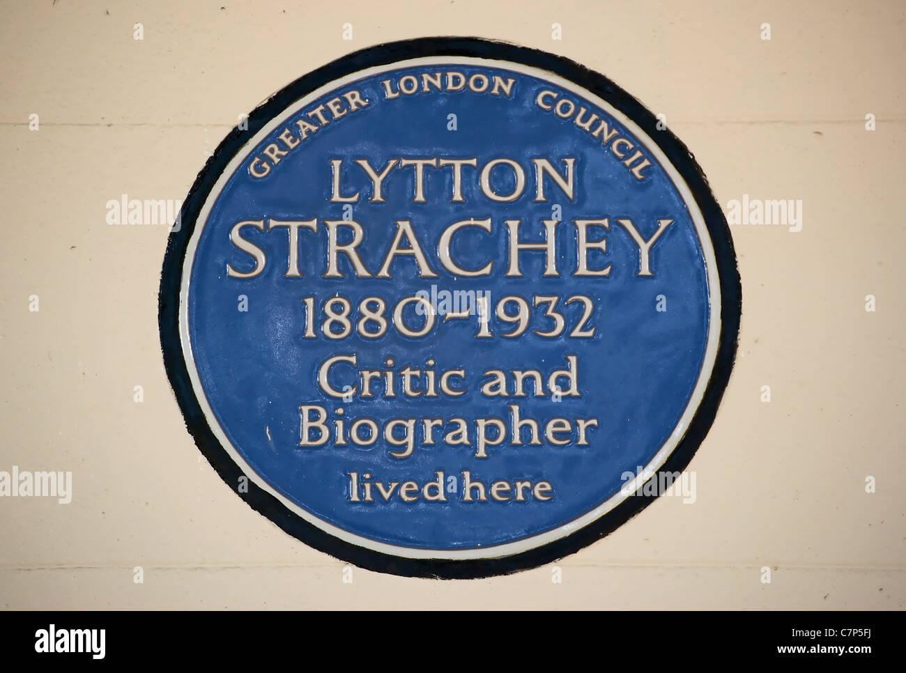Greater London consiglio targa blu segnando un home di critico e biografo lytton strachey, Gordon Square, Londra, Inghilterra Foto Stock