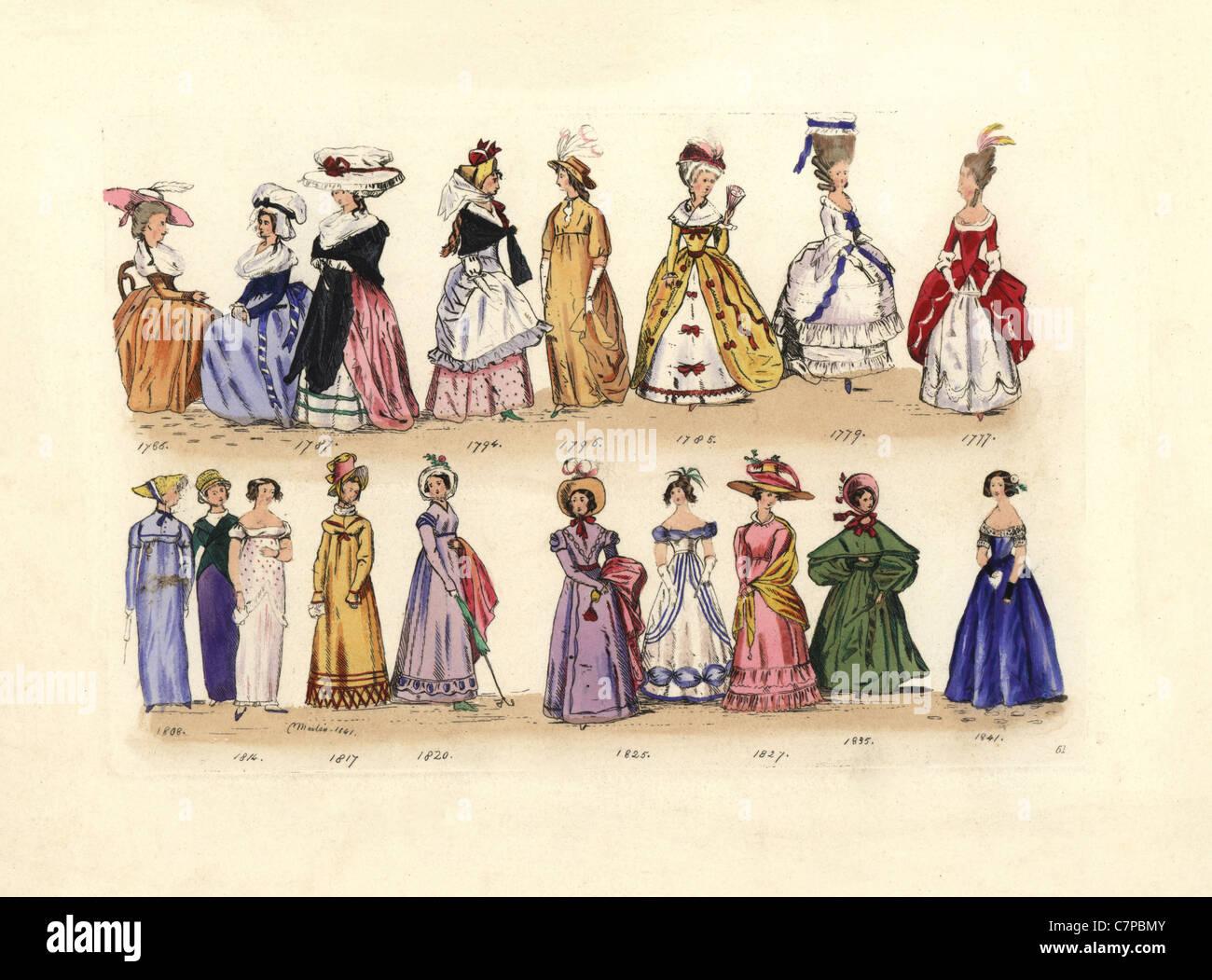 Le donne della moda da 1786 a 1841, regna di George III a Victoria, da libri tascabili, Ladies' riviste, etc. Immagini Stock