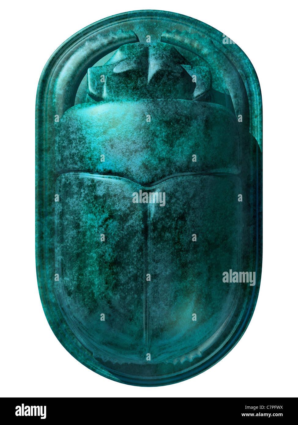 Illustrazione isolata di un antico scarabeo egizio scarabeo Foto Stock