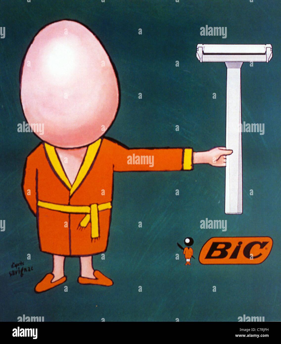 BIC 1978 pubblicità rasoio progettato da Raymond Savignac Immagini Stock