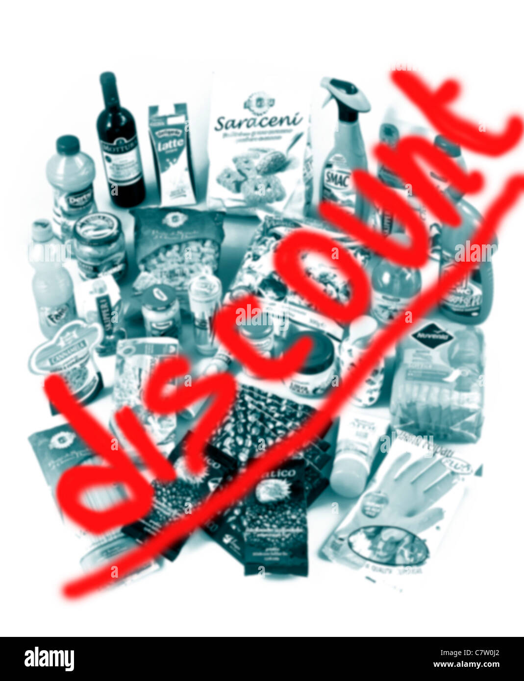 Sconto prodotti negozio: cibo di cosmetici e prodotti di bellezza Immagini Stock
