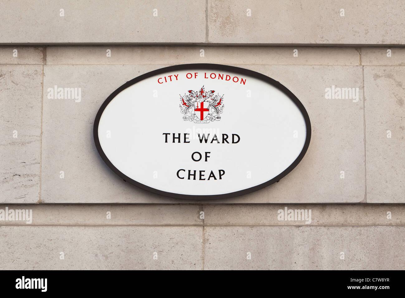 Il reparto di segno economici di Londra, Inghilterra Immagini Stock