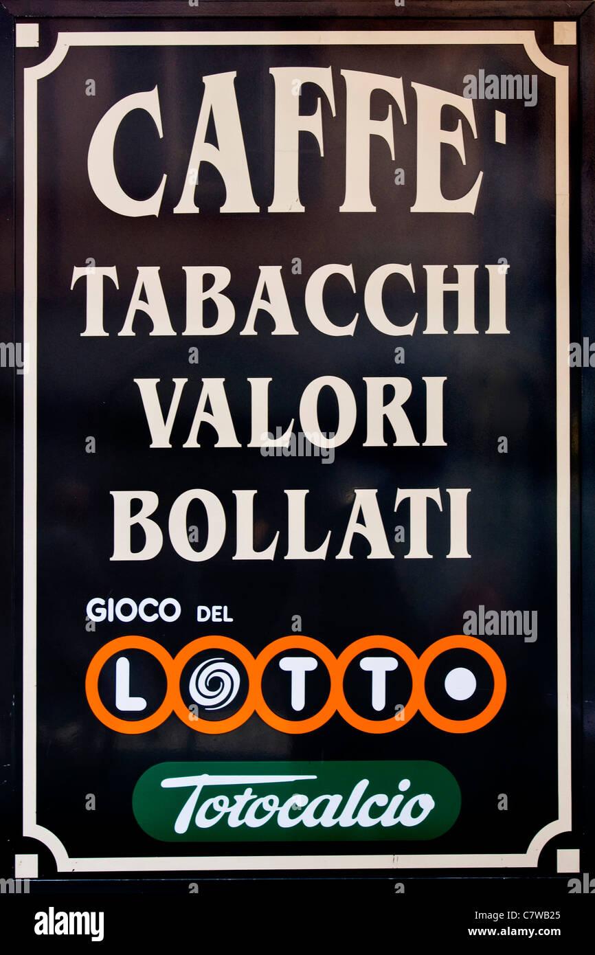 L'Italia, tabaccheria e Lotto segni Immagini Stock