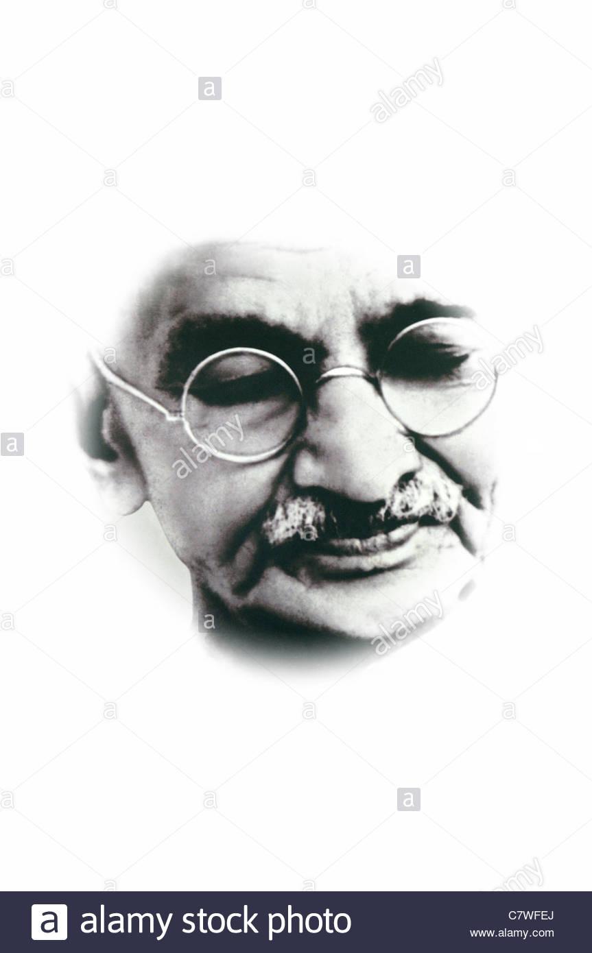 Tagliare spaccato di una sezione di una foto di Mohandas Karamchand Gandhi mahatma Gandhi prese da un poster icona Immagini Stock