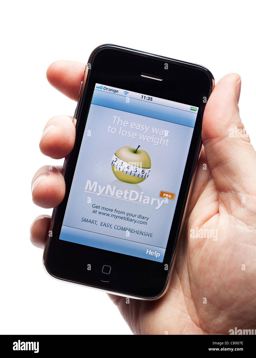 Contatore di caloria diete aiutare app su uno smartphone elegante telefono cellulare telefono cellulare Immagini Stock