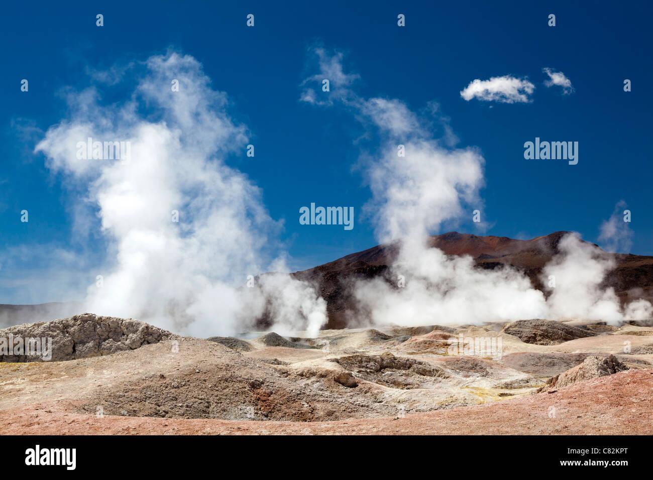 Sol de Manana geyser (sole di mattina), altipiano boliviano Immagini Stock