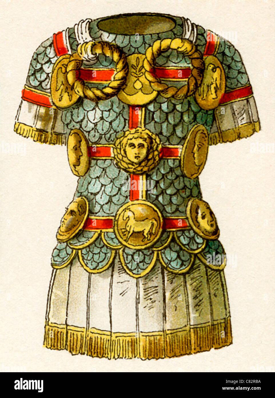 Questa 1882 illustrazione mostra la corazza romana al tempo di ritardo di repubblica e impero (c. 100 A.C. - A.D. Immagini Stock