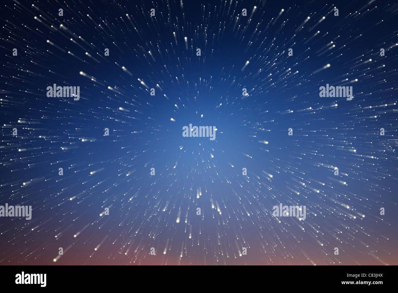 Abstract background. Il visualizzatore è in movimento nello spazio verso l'infinito. Immagini Stock