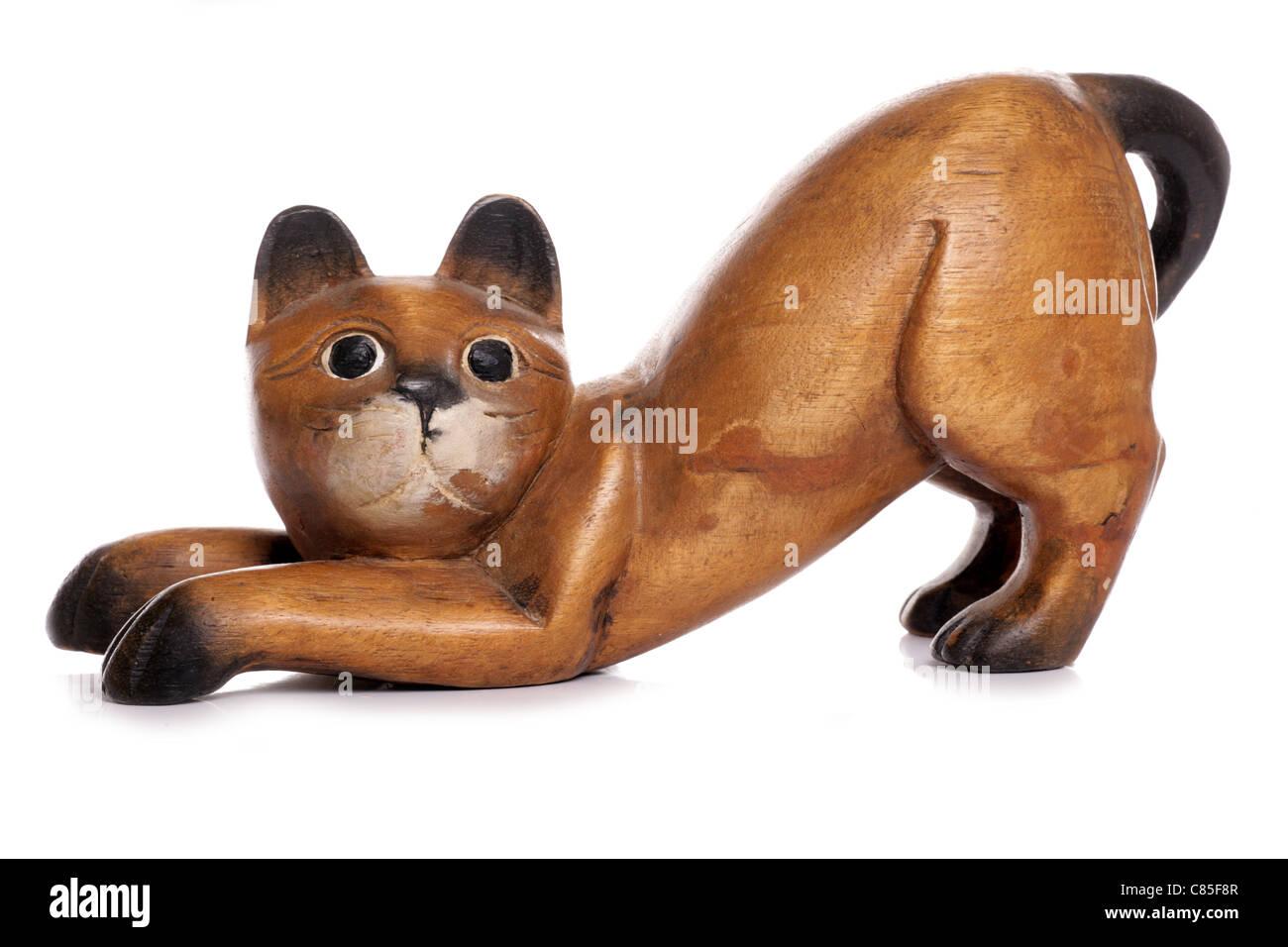 Gatto in legno ornamento di esclusione di studio Immagini Stock