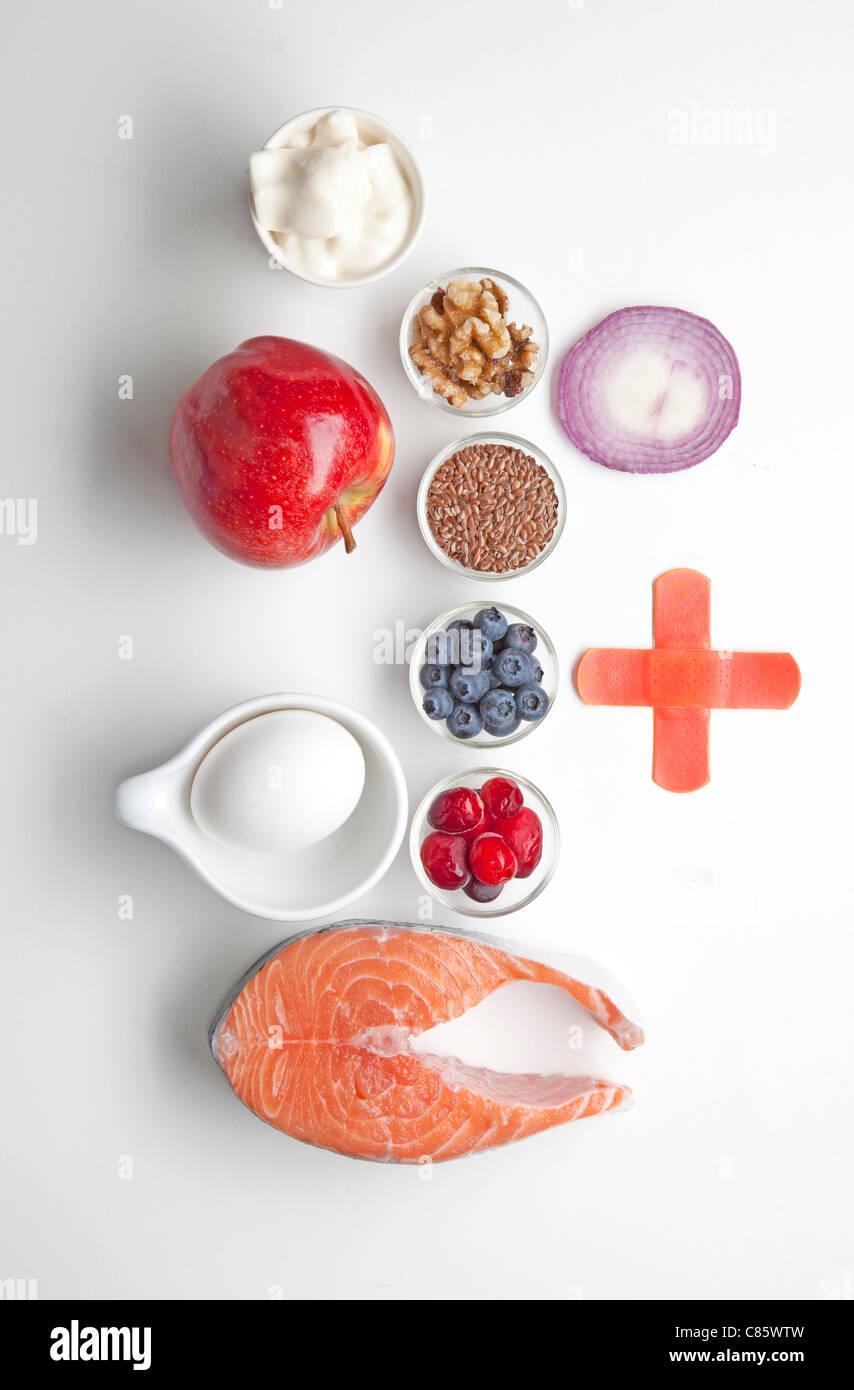Gli alimenti che promuovere la guarigione per gli atleti Immagini Stock