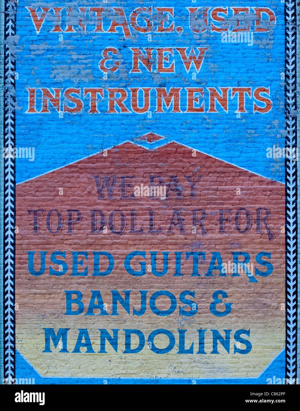 Di seconda mano strumenti musicali shop segno Nashville Immagini Stock