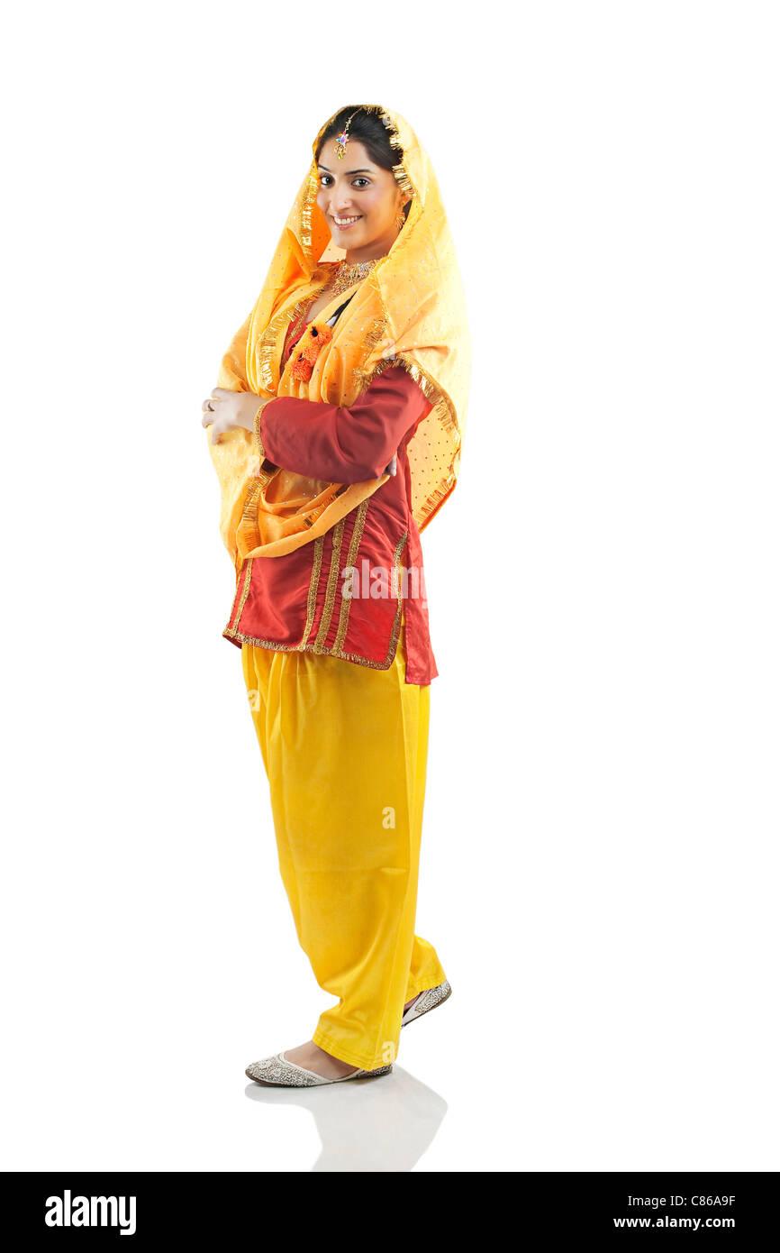 Ritratto di una donna Sikh Foto Stock