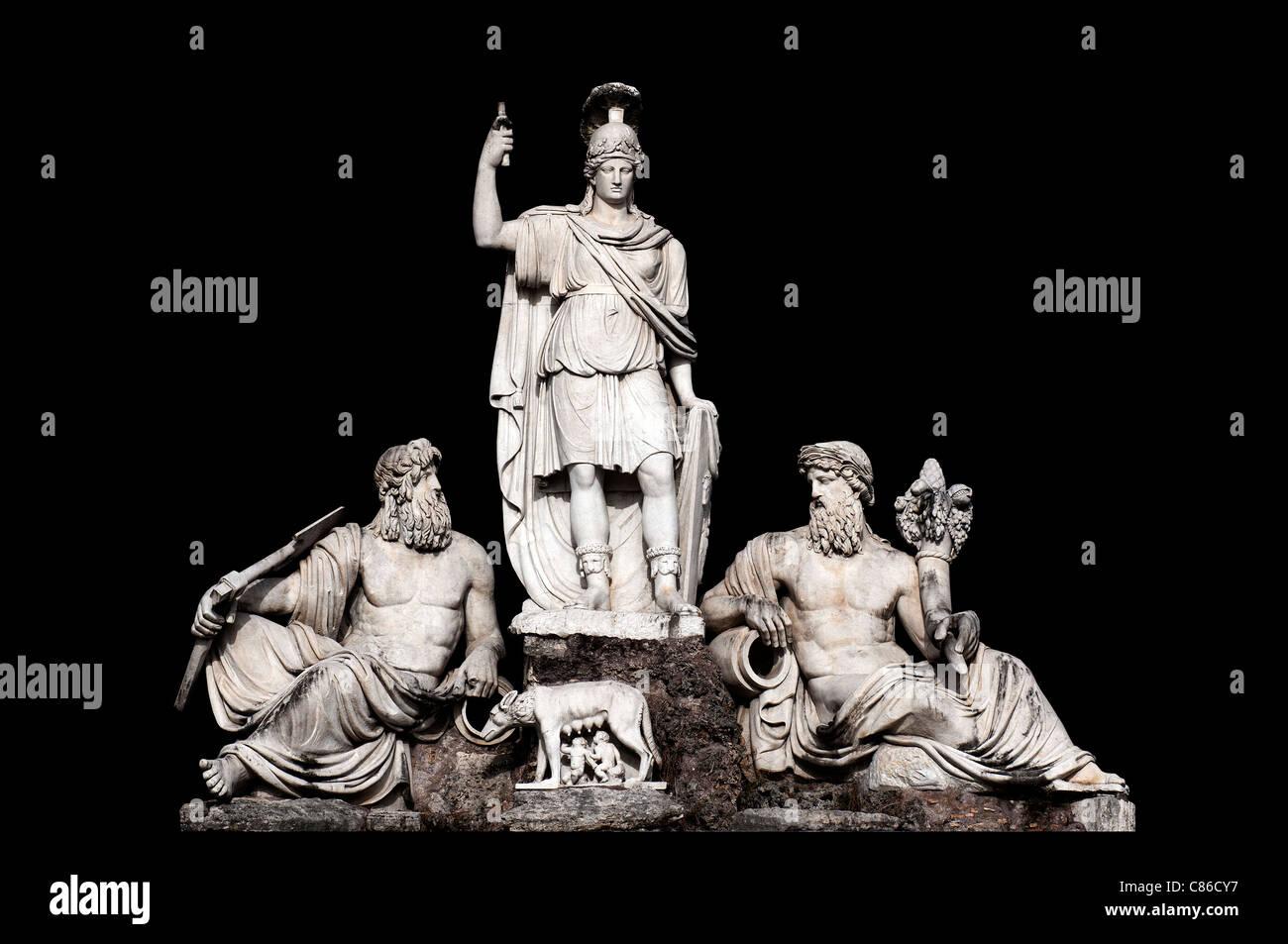 Fontana della Dea Roma tra il Tevere e l'Aniene da Giovanni Ceccarini in Piazza del Popolo a Roma Italia Immagini Stock