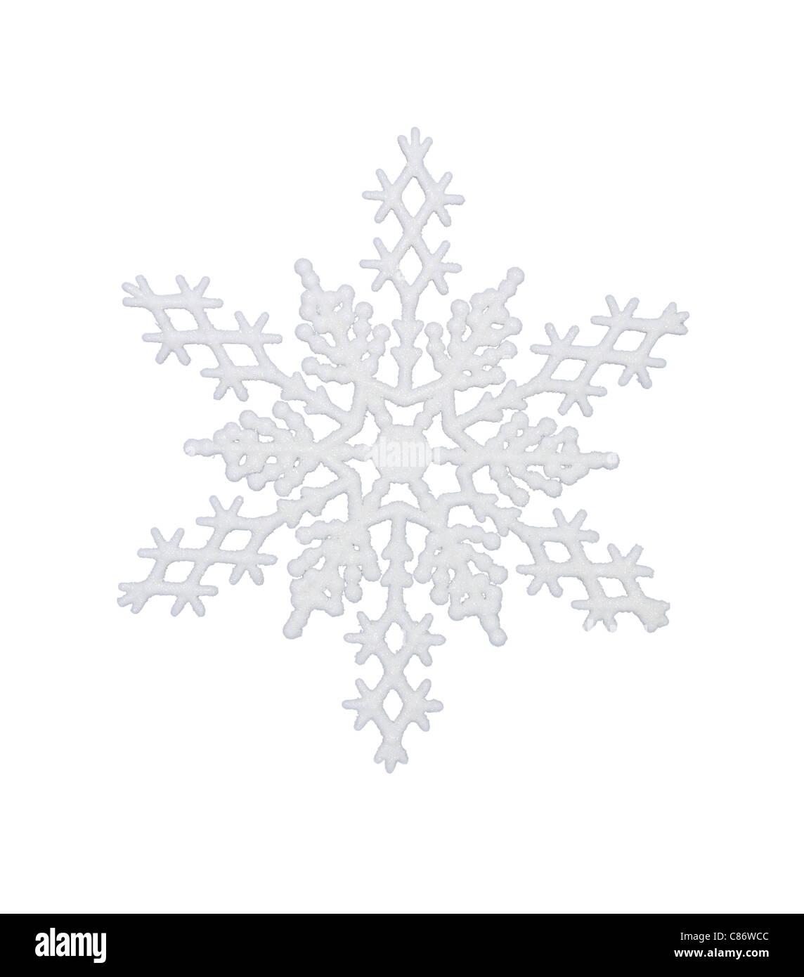 Il simbolo del fiocco di neve bianca, isolata w/percorso di clipping Immagini Stock