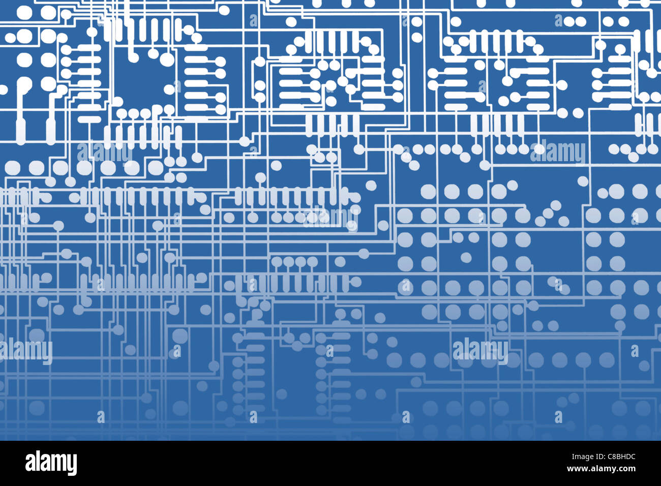 Ottimizzazione digitale - due strati sovrapposti di pellicola sul layout della scheda di circuito stampato multistrato Immagini Stock