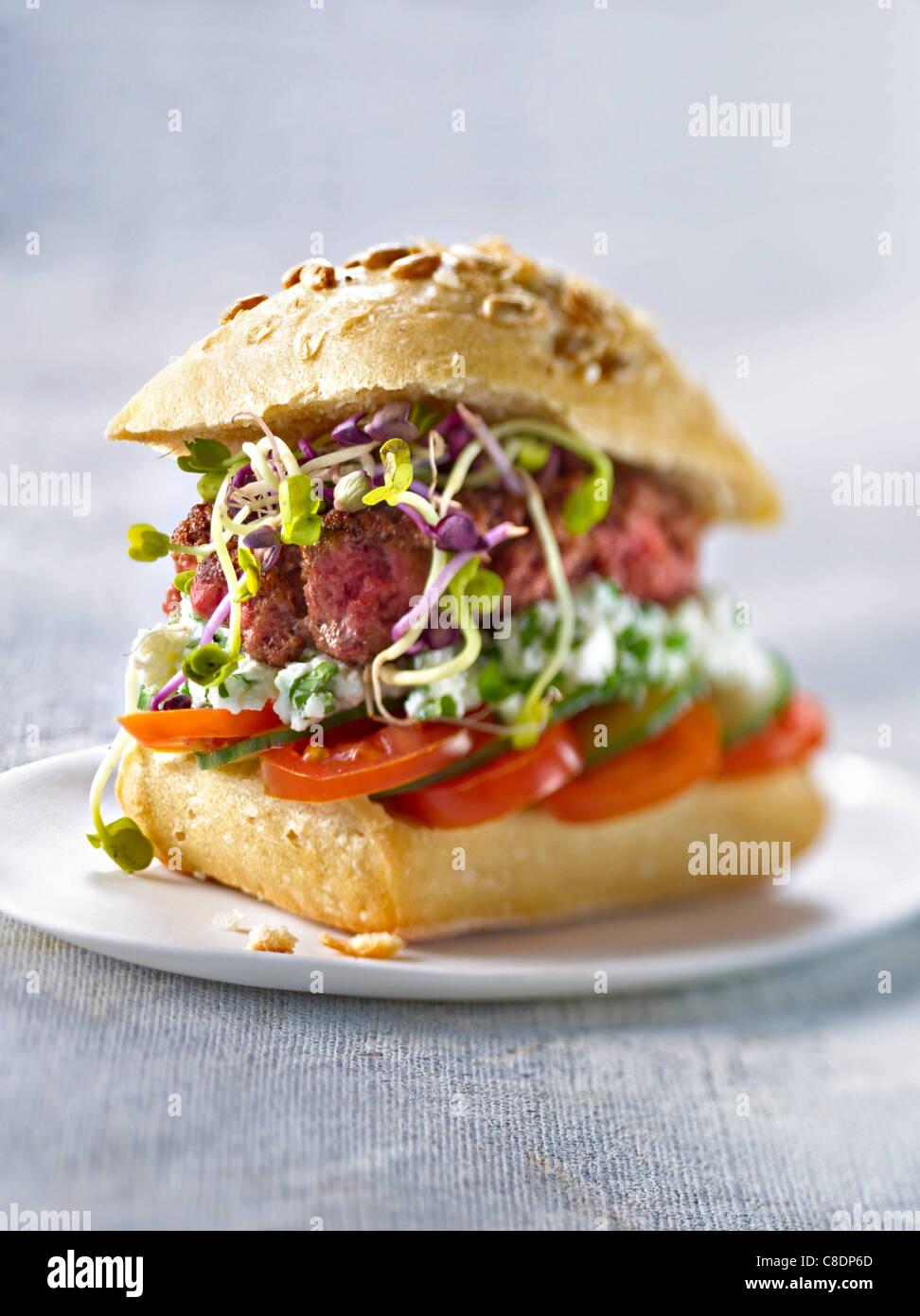 Hamburger organico Immagini Stock