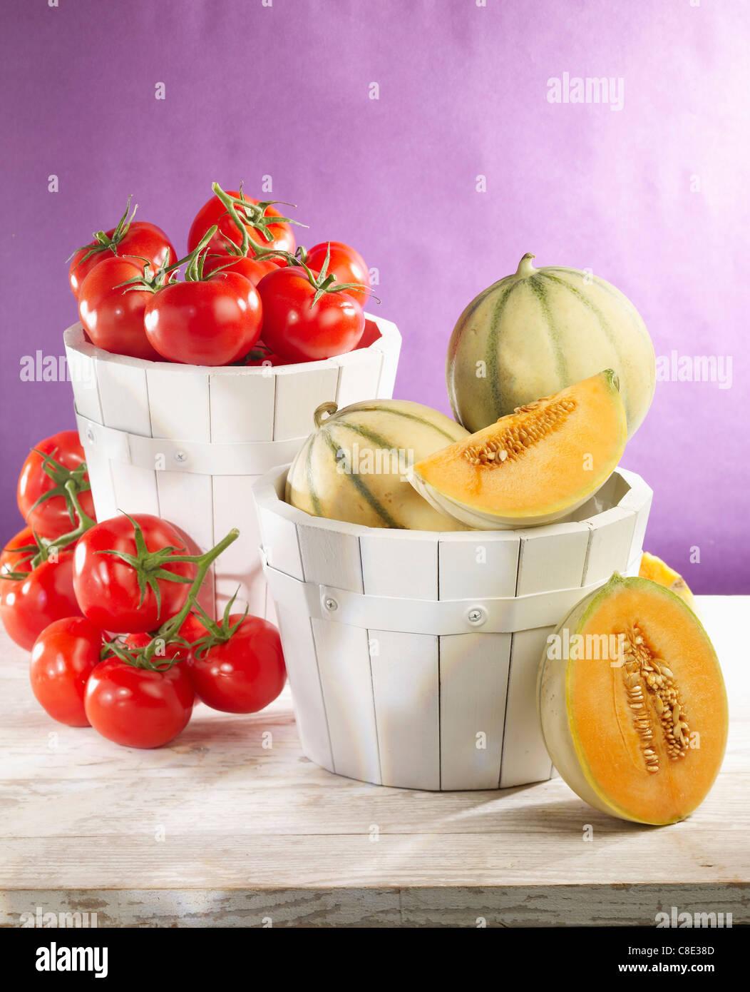 Meloni e pomodori Foto Stock