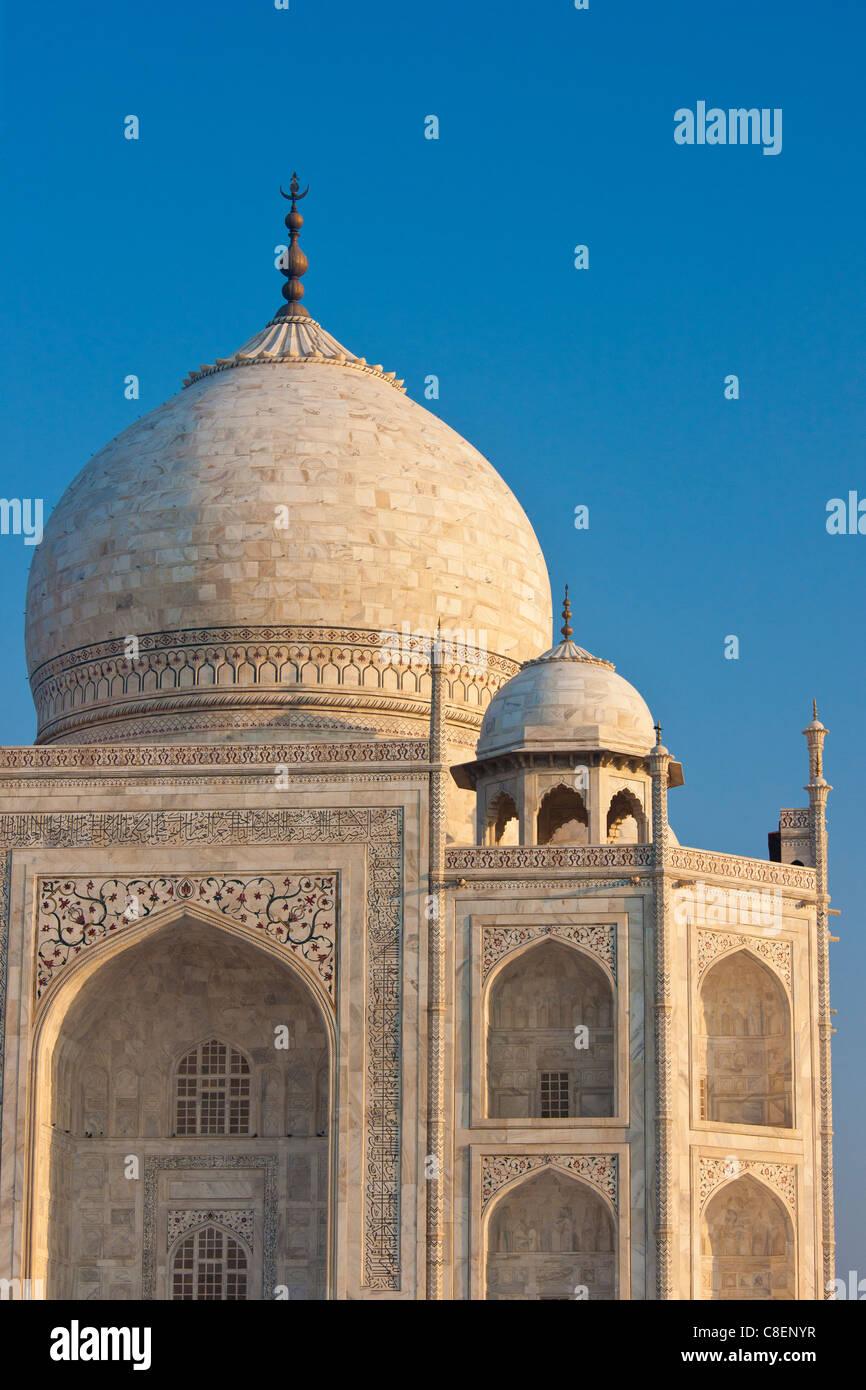 Iwans del Taj Mahal mausoleo, western visualizza dettagli diamond faccette con bassorilievo in marmo, Uttar Pradesh, Immagini Stock