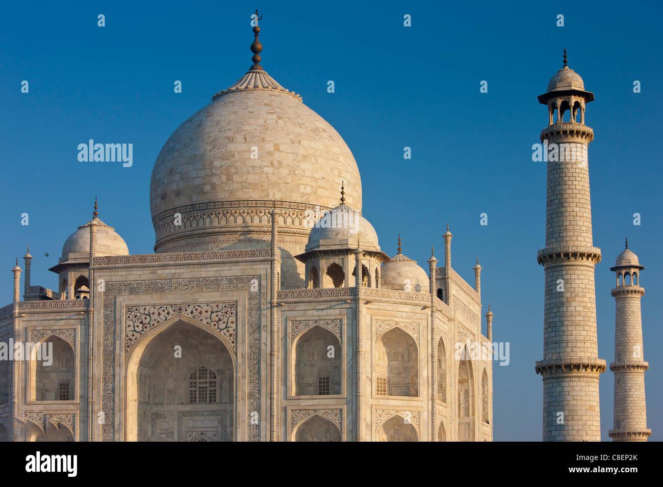Iwans del Taj Mahal mausoleo, southern visualizza dettagli diamond faccette con bassorilievo in marmo, Uttar Pradesh, Immagini Stock