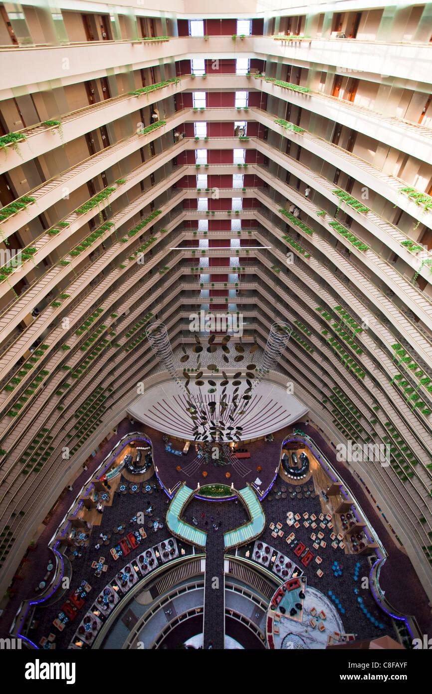 Singapore, Asia, Pan Pacific Hotel, lobby, hall, Halle, look, vista da sopra, pavimenti, solai, all'interno, Immagini Stock